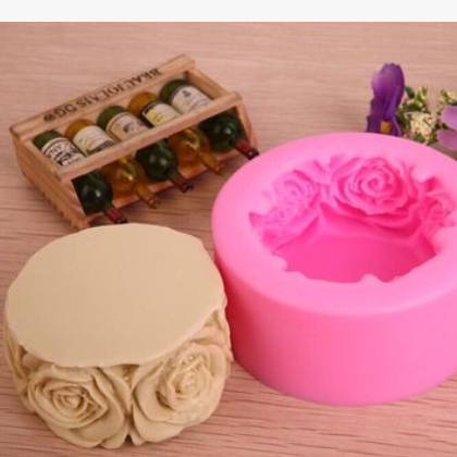 DIY蛋糕模具 水桶玫瑰花图案翻糖硅胶模具液态硅胶模