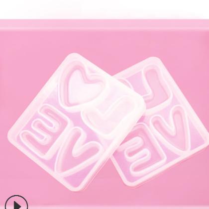 diy水晶滴胶模具LOVE爱心硅胶模具饰品摆件手工饰品高镜面模具