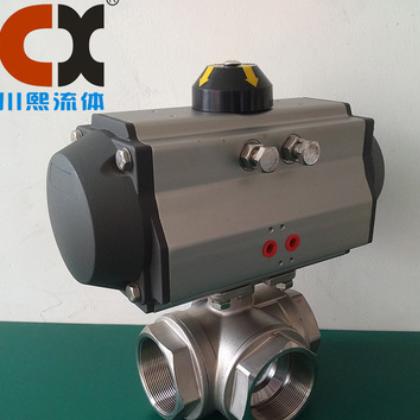 厂家直销CF8M 1000WOG不锈钢三通球阀 气动三通内螺纹转换阀 L型