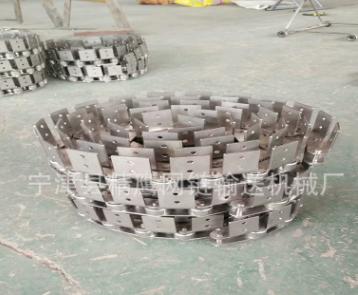 精鹰定做不锈钢弯板异形链条双节距输送链条链轮定做滚珠传动链条