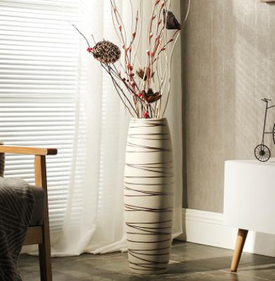 厂家批发 景德镇陶瓷落地花瓶摆件北欧简约家居干花花器软装饰品