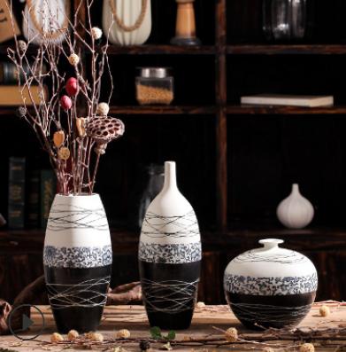 景德镇手工青花瓷花瓶仿真插花器 桌面陶瓷摆件现代插花装饰摆件
