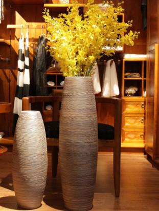 景德镇手工落地大花瓶陶瓷新中式复古摆件客厅装饰粗陶插花器乔迁