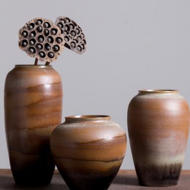 景德镇陶瓷工艺品 中式家居摆件三件套花瓶客厅装饰干花批发定制