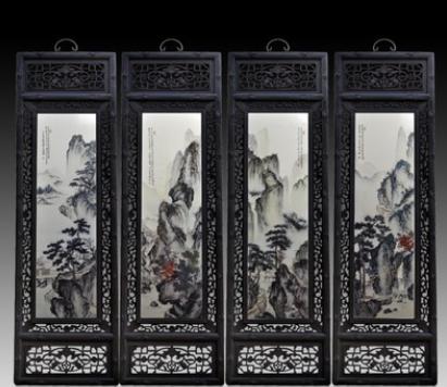 青花玲珑瓷瓷板画 瓷板画批发 陶瓷瓷板画 仿古实木古典山水画