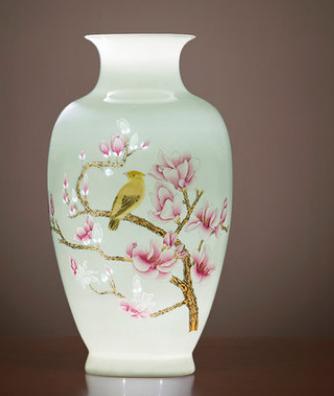 景德镇半刀泥手工艺术花瓶摆件 中式风格插花瓶礼品送底座锦盒