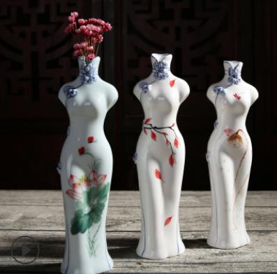 桌面花器花瓶礼品批发手工手绘旗袍酒店摆件陶瓷干花插花瓶