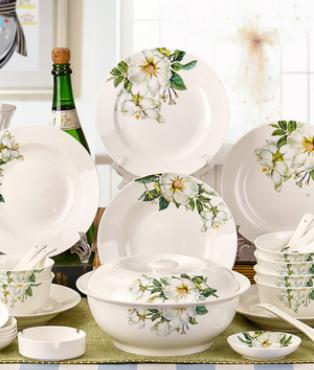 餐具套装28/56头景德镇陶瓷器骨瓷碗碟碗盘韩式家用结婚乔迁礼品