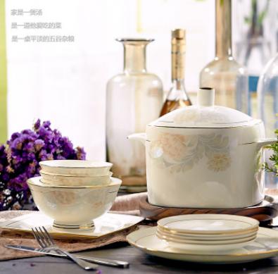 碗碟套装 家用骨瓷餐具套装景德镇陶瓷瓷器60头欧式碗盘组合