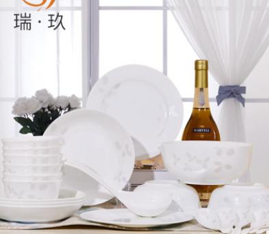 唐山28头骨瓷餐具套装碗盘简约中式陶瓷器碗碟套装家用盘碗套装