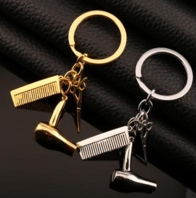洗剪吹钥匙扣挂件 美发剪刀梳子吹风机吊坠汽车钥匙链 速卖通爆款