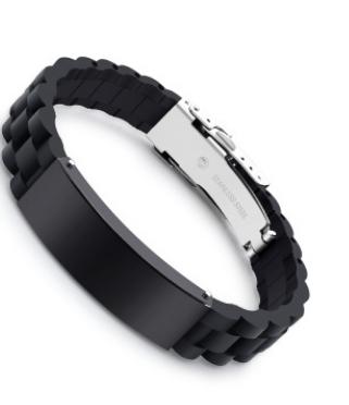 欧美嘻哈硅胶手环钛钢优质刻字LOGO手链diy同款男士饰品厂家