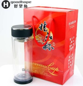 厂家批发高档高硼硅双层黑水晶底玻璃杯 广告礼品水杯可定制LOGO