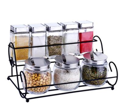 爱乐优厨房用品调味罐套装上下层调料瓶套装送勺子8件套带架子