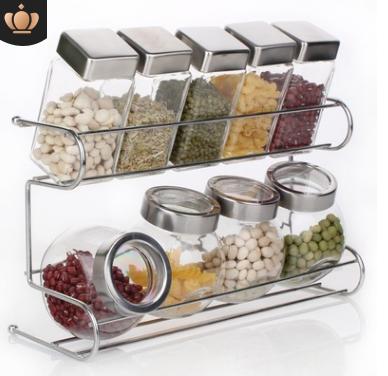 厨房用品玻璃调味瓶套装 调料罐密封罐调料盒调料瓶置物架10件套