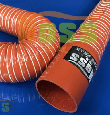 阻燃通风管 激光设备耐高温风管 红色耐高温软管 耐高温伸缩软管