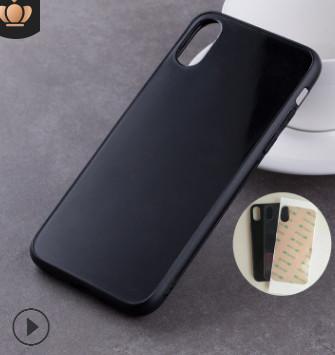 适用于iPhoneX手机玻璃壳TPU+PC钢化玻璃苹果X凹槽贴皮彩绘素材壳