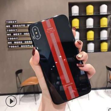 适用iphoneXSMAX保时捷电镀边钢化玻璃手机壳苹果7/8plus保护套XR
