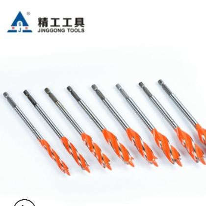 四槽四刃木工支罗钻头7件套10-25mm加长门锁开孔器扩孔钻头六角柄