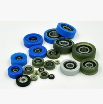 滑轮导轮滚轮聚氨酯胶轮抗包胶成型耐磨静音轴承6000TPU