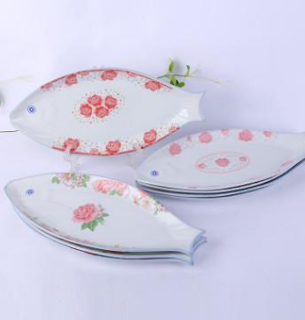 现货供应珍珠鱼盘 中式陶瓷鱼盘多种花色珍珠鱼形盘 广告促销盘子