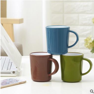 创意厚壁双色马克杯 漱口杯带手柄水杯双层塑料杯刷牙杯礼品定制