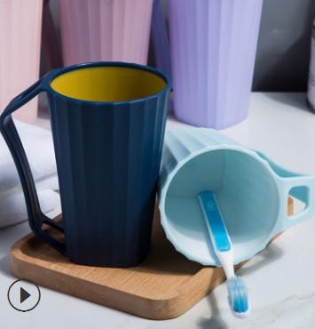 新款上市 现货塑料带柄漱口杯家用北欧双层双色牙刷杯加厚洗漱杯