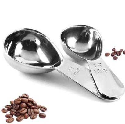 厂家直销 不锈钢量勺2件套 带刻度量匙咖啡匙套装 奶粉勺现货