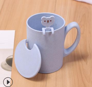 供应麦香马克杯 手柄带盖水杯可印logo 塑料牛奶杯麦秸秆咖啡杯