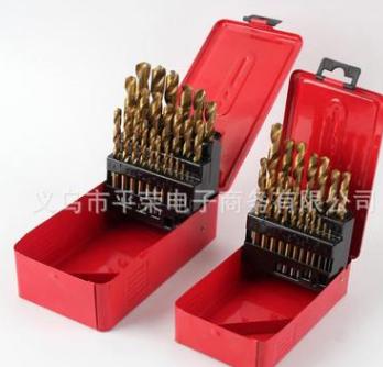 25件套高速钢麻花镀钛钻头组合 钻头套装 铁盒装金属钻头