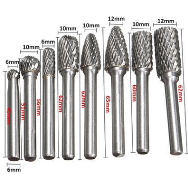 8件套装双槽旋转锉刀钨钢磨头 加长硬质合金打磨头 旋转雕锉铣刀