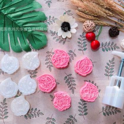 热销63克立体寿桃型中秋冰皮圆形月饼模具手压式绿豆糕模5片套装