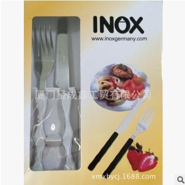 厂家直销 不锈钢餐具 爆款PS双色手柄水果刀叉食品级时尚
