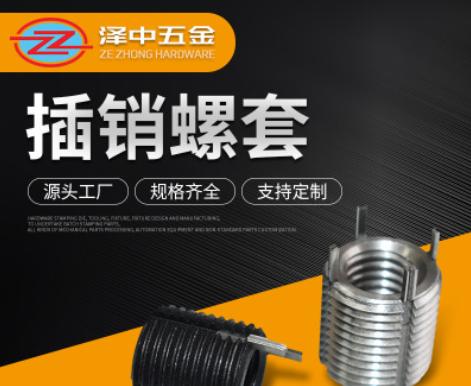 紧固件 插销螺套 碳钢 不锈钢螺套 钢丝 自攻螺套 非标插销螺套